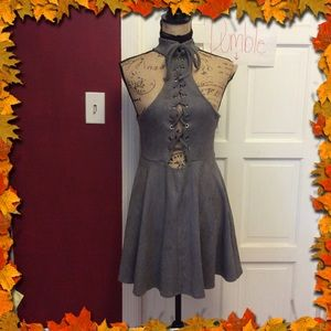 Dresses & Skirts - 💜Faux suede gray lace up dress💜